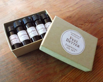 Feel Better Essential Oil Set - get well gift, care package, essential oils starter kit, meditation, gift set