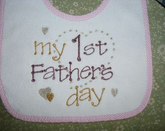 Daddy's First Father's Day.  Personalized Baby Bib.  3 Sizes.