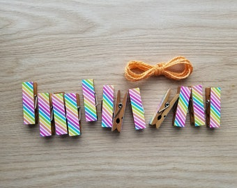 Summer Rainbow Skinny Stripes w Twine for Photo Display - Chunky Little Clothespin Clips Set of 12 - First Birthday Baby Shower Gifts