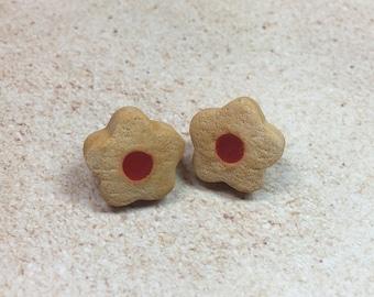 Miniature Jam Thumbprint Cookie Earrings from My Bead Garden