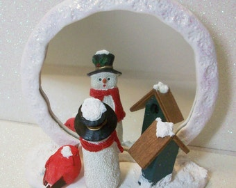Snowman and red bird snow covered mirror ornament or figurine