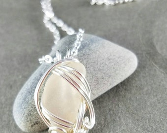 Pink Silver Wire Wrapped Sea Glass Necklace Atlantis Found