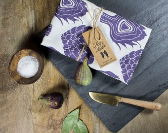 Purple Artichoke Tea Towel - GOTS Certified Dish Towel - Organic Cotton Kitchen Towel - Artichokes - Tea Towels - Dish Towels