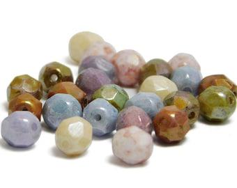 Fire Polished Beads - Czech Glass Beads - Czech Beads - 6mm Fire Polished - Round Beads - Pastel - 25pcs (2692)