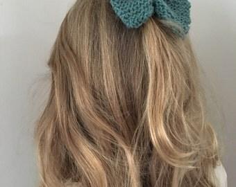 Green Wool Barrette