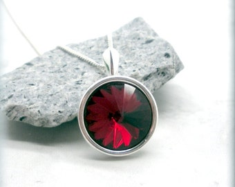 January Birthstone Necklace Garnet Red Swarovski Rivoli Crystal Pendant Sterling Silver Birthday Gift for Her Everyday Jewelry Set (SN951)