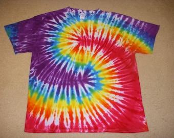 XL tie dye t-shirt, yin yang rainbow, extra large