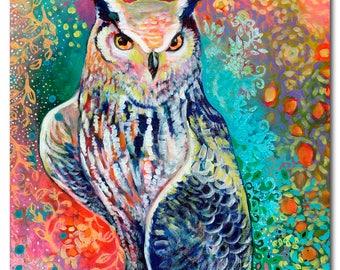 Owl Portrait - ORIGINAL acrlylic Painting, 16x20 by JENLO