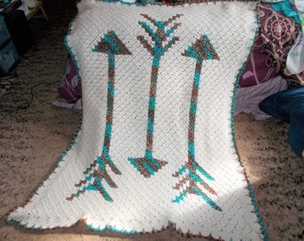 Beautiful and Luxuriously, Handcrafted, Crochet Blanket,  Fallen Arrows Design, Lapghan,  Afghan, Throw, Ready to Ship, One of a kind