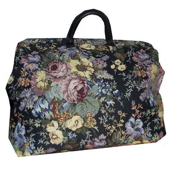 Black Amp Multicolored Floral Tapestry Carpet Bag