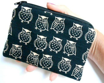 Owls Little Zipper Pouch Coin Purse Gadget Case ECO Friendly Padded NEW Japanese Import Winked Owls