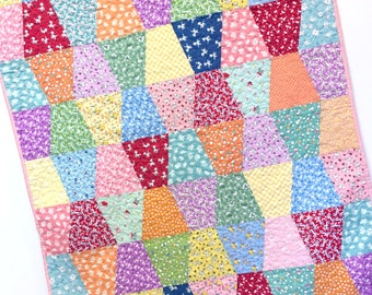Baby Girl Quilt 1930s reproduction Patchwork Tumbler Nursery Bedding Crib Bedding