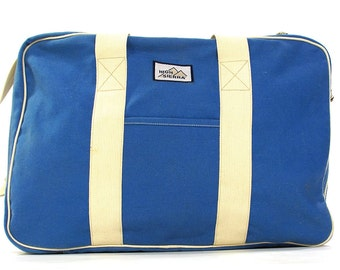 80s BIG Canvas Weekender / Vintage 1980s Carry On Travel Tote / Large Vegan Gym Bag / Removable Shoulder Strap / Small Blue Suitcase Luggage