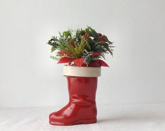 Red Plastic Santa Boot, Vintage Christmas Candy Container