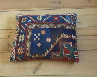 Antique Caucasian rug pillow cushion