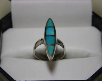 Vintage Sterling Silver Turquoise Inlay Ring  MoonMagicTreasures Genuine Turquoise