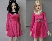 56-60cm BJD Reversible Bow Velvet Skater Dress