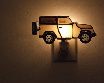Sport Utility Vehicle Night Light - Off The Road Vehicle Stained Glass Night Light - Urban 4-Wheel Drive Vehicle Opal Glass Night Light
