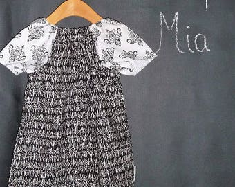 Sample SALE - Will fit Size 12 month up to a 5T - Ready to MAIL - Peasant Dress or Top - Black and White - by Boutique Mia