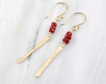 Ruby and Gold Icicle Earrings