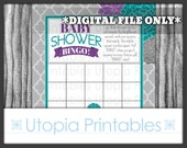Baby Shower Bingo Card Teal Purple Gray Modern Flowers Floral Theme Party Game Activities Digital Printable Grey Aqua Blue Turquoise