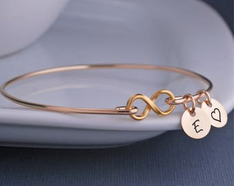 Gold Infinity Bracelet, Custom Infinity Symbol Jewelry, Infinity Bracelet, Gold Infinity Bangle, Mother's Day Gift for Wife, Push Present