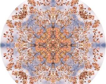 Mandala Art, Meditation Art, Peaceful Geometric Art Print, Nature Inspired Abstract Art Print in Orange & Blue