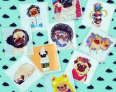 Pug Stickers, Planner Stickers, Pug Gifts, Party Favors, Envelope Seals, Hipster Stickers, Dog Lover Gift, Gifts Under 5, Cute Dog Stickers