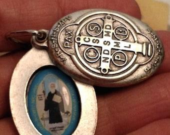 Large Vintage Saint St Benedict Silver Tone Picture Sliding Religious Medal Pendant Locket