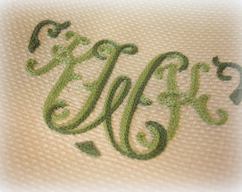 LIKE NEW set of 4 vintage monogrammed hand towels tea towels ecru with two tone green embroidery K W K greenwald's saint louis