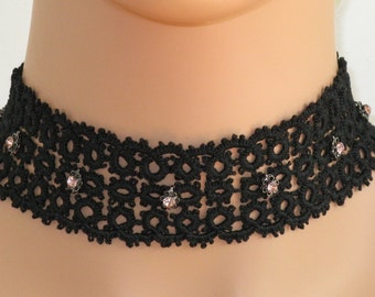 Hand-Tatted Adjustable Choker - Black with 7 Pink Crystals set in gunmetal flower shape - CH4