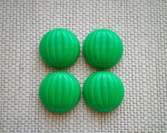 4 Vintage Opaque Kelly Green Round Glass Dome Cabochons - Bright Green Retro Mid-Century Mod Crafting Jewelry Making Supply Embellishments