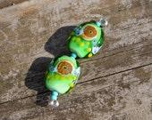 Pair lampwork beads- Grass Green Crunch pair~ Art Glass beads- Lisa New Design