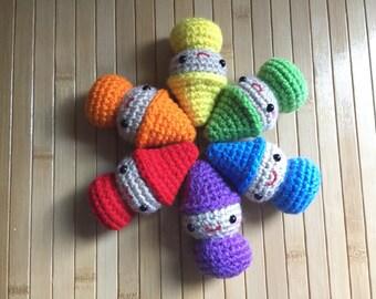 Rainbow Elf - Amigurumi Sprite Doll - Custom Color Options and ornament option