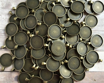 100 Antique Bronze Pendant Blanks 1 inch Lead Free Glass Tile Photo Polymer Clay Quilling Pendants