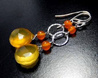 Yellow Drop Earrings, Chalcedony Teardrops, Tangerine Orange Quartz, Sterling Silver
