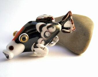 Fish bead, Black and white glass koi fish necklace, Lampwork Glass Beads,  handmade focal bead, ocean bead, jewelry supplies, SRAJD, CGGE