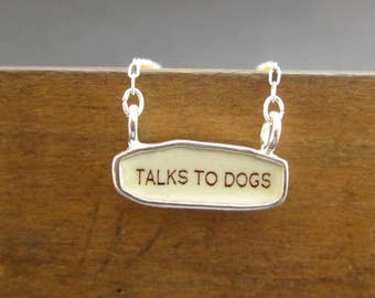 Talks to Dogs Necklace - Reversible Sterling Silver and Enamel Script Necklace