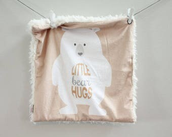 Bear Hugs Baby Lovey Blanket faux fur minky READY TO SHIP baby gift cloud blanket llama tan newborn gift plush photo prop toddler child