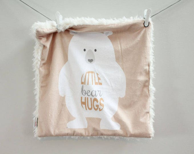 Bear Hugs Baby Lovey Blanket faux fur minky READY TO SHIP baby gift cloud blanket llama tan newborn gift plush photo prop toddler child