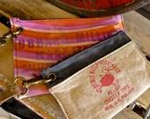 Hubbards Milling Minnesota - Bemis : Wristlet Wallets - Set of 2  - Americana Canvas Leather Handbag- vintage fabric.. Selina Vaughan