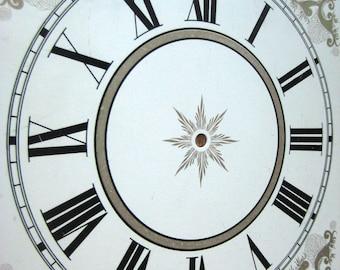 Vintage Antique Roman Numeral Clock Face Part Good Condition
