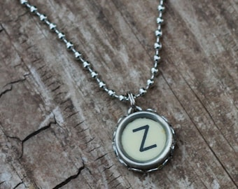 Letter Z Necklace, Vintage Typewriter, Writer Gift, Personalized Jewelry