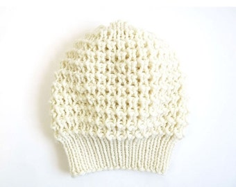 15% OFF SALE: Emma Merino Slouch Hat. Hand Knit Lace. Soft Porcelain / Cream. Romantic / Valentine / Boho / Spring Style. Handmade in France