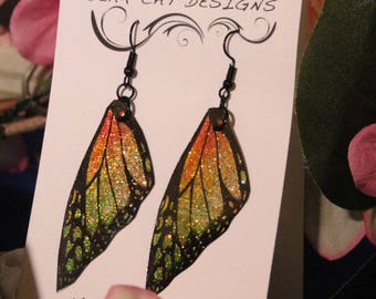 Orange Yellow Green Faux Butterfly Wing Earrrings