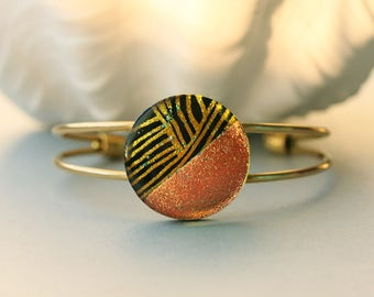 Warm Autumn Dichroic Fused Glass Cuff Bracelet BL0075, GetGlassy