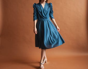 deep teal ruched puff sleeve wrap dress / midi tea dress / puff sleeve jersey dress / s / 2177d / B4
