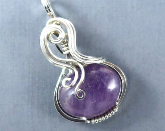 Petite Cape Amethyst Gemstone and Sterling Silver Wire Wrapped Pendant Cabochon