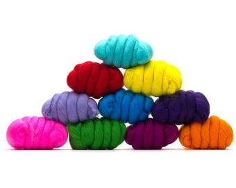 ON SALE Beautiful Brights Merino Variety Pack - 10 colors - 25 grams each color = 250 grams or 8.8 oz total - Spin, Felt, Fiber Art, Create