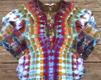 Womens Size Large Tie Dye Tunic Upcycled Shirt Hippie Shirt